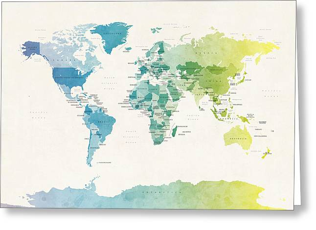 Watercolour Political Map Of The World Greeting Card by Michael Tompsett