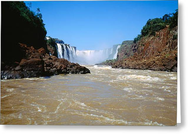 Clear Fall Day Greeting Cards - Waterfall In A Forest, Iguacu Falls Greeting Card by Panoramic Images