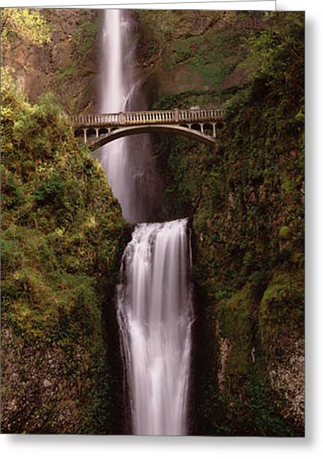 Famous Place Greeting Cards - Waterfall In A Forest, Multnomah Falls Greeting Card by Panoramic Images