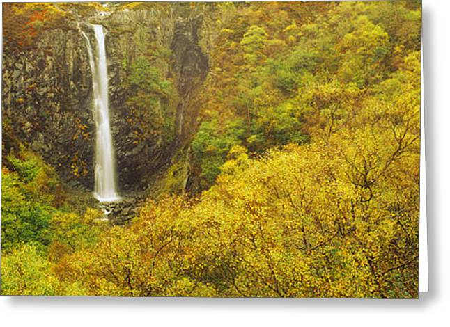 Colors Of Autumn Greeting Cards - Waterfall In Autumn, Eas Mor, Allt Greeting Card by Panoramic Images