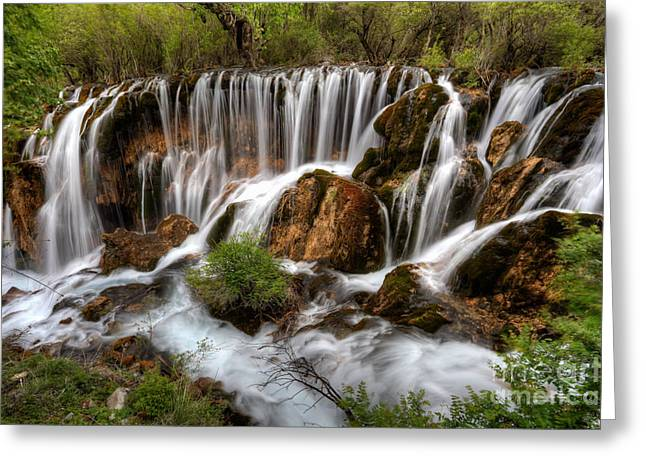 Sichuan Province Greeting Cards - Waterfall landscape Greeting Card by Fototrav Print