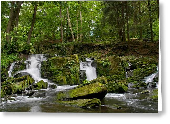 Forest Pyrography Greeting Cards - Waterfall Greeting Card by Steffen Gierok