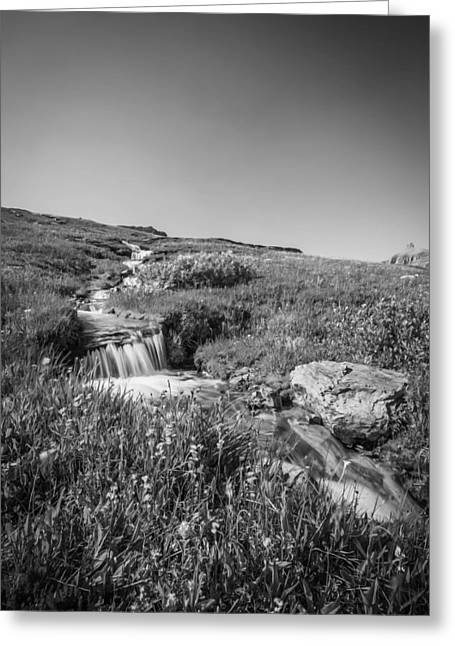 Clean Water Greeting Cards - Waterfall Triple Falls Glacier National Park BW Greeting Card by Rich Franco