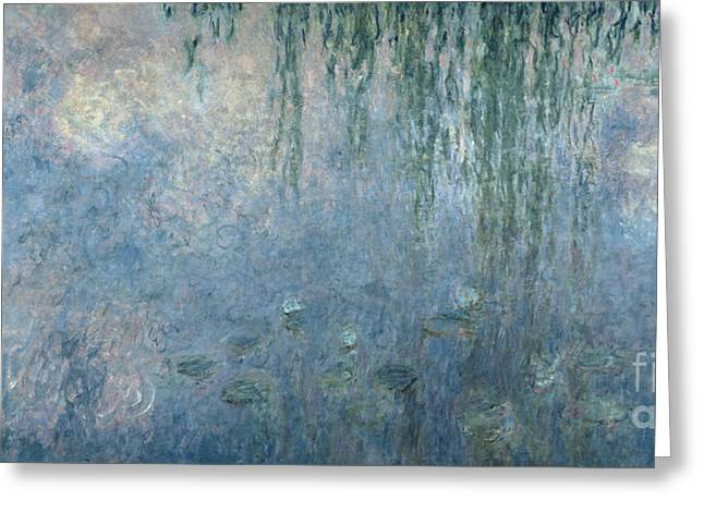 Willows Greeting Cards - Waterlilies Morning with Weeping Willows Greeting Card by Claude Monet
