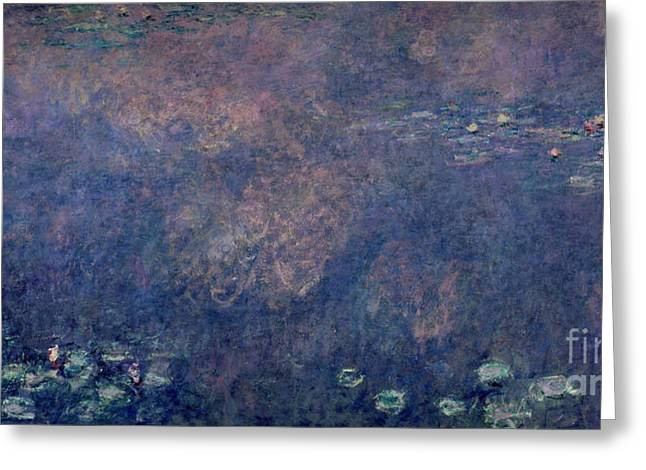 Weeping Greeting Cards - Waterlilies Two Weeping Willows Greeting Card by Claude Monet