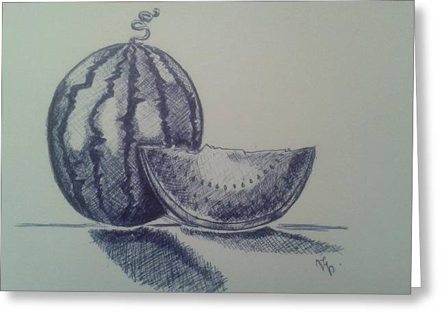 Watermelon Drawings Greeting Cards - Watermelon Greeting Card by Emese Varga