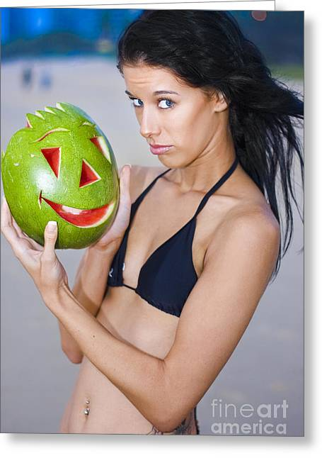 Questioning Greeting Cards - Watermelon Humor Greeting Card by Ryan Jorgensen