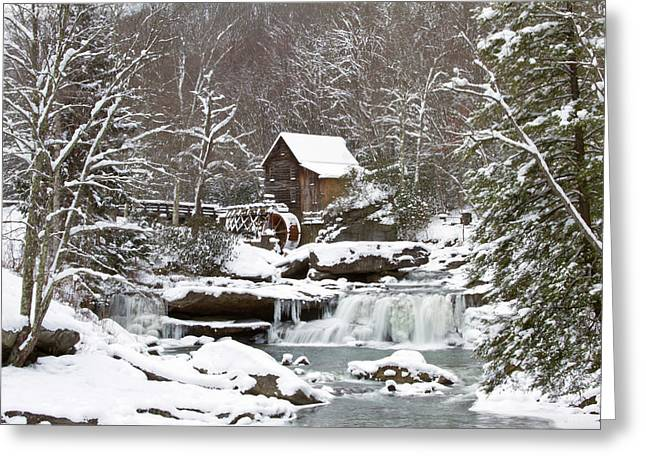 Watermill In A Forest In Winter, Glade Greeting Card by Panoramic Images