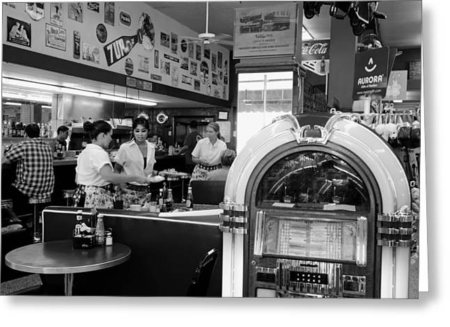 Waitress Photographs Greeting Cards - Watson Drug and Soda Fountain Greeting Card by Mountain Dreams