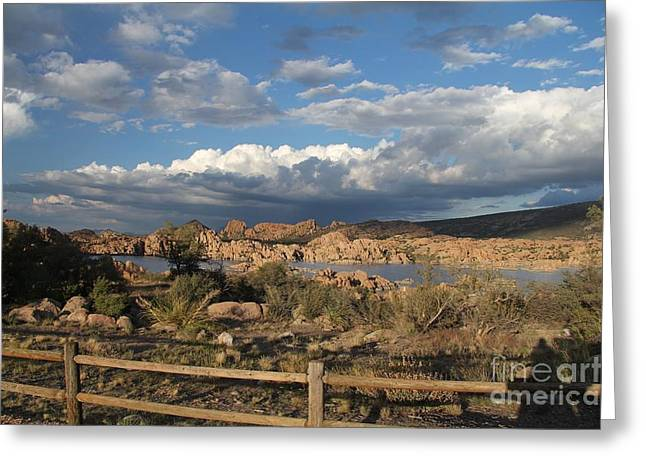 Prescott Greeting Cards - Watson Lake  Greeting Card by Diane  Greco-Lesser