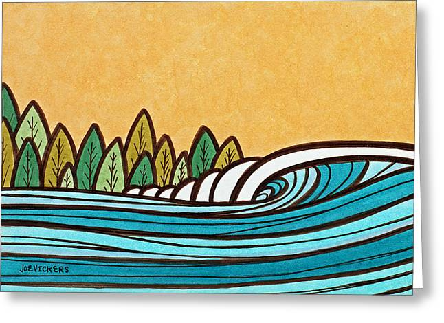 Florida House Mixed Media Greeting Cards - Wave and Pines Greeting Card by Joe Vickers