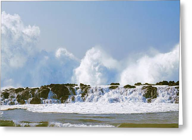 Waves Breaking At Rocks, Oahu, Hawaii Greeting Card by Panoramic Images
