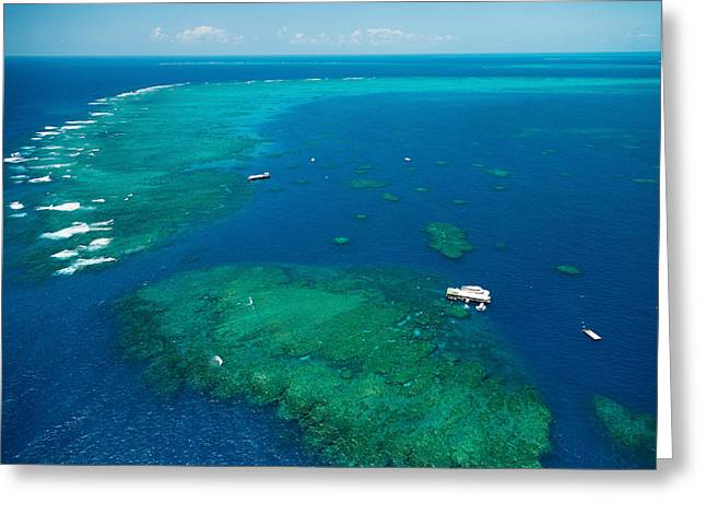Water Vessels Greeting Cards - Waves Breaking On Great Barrier Reef Greeting Card by Panoramic Images