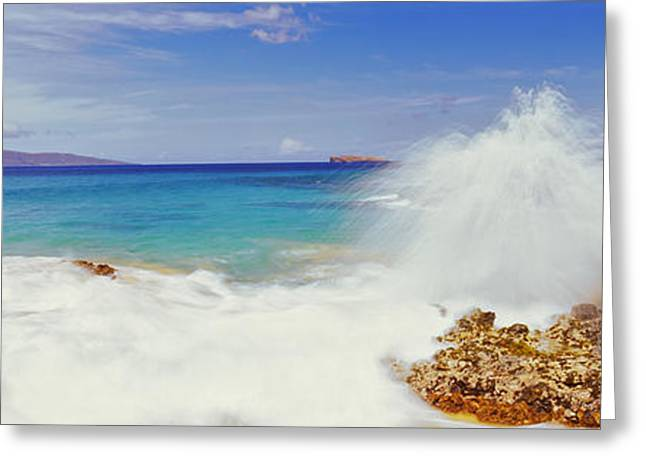 Ocean Photography Greeting Cards - Waves Breaking On The Coast, Maui Greeting Card by Panoramic Images
