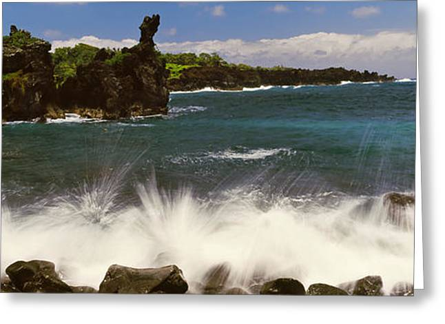 Ocean Photography Greeting Cards - Waves Breaking On The Coast, Oahu Greeting Card by Panoramic Images