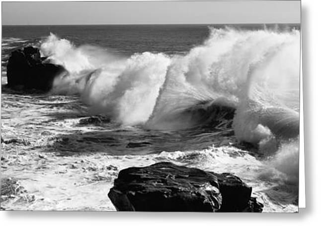 Santa Cruz Greeting Cards - Waves Breaking On The Coast, Santa Greeting Card by Panoramic Images