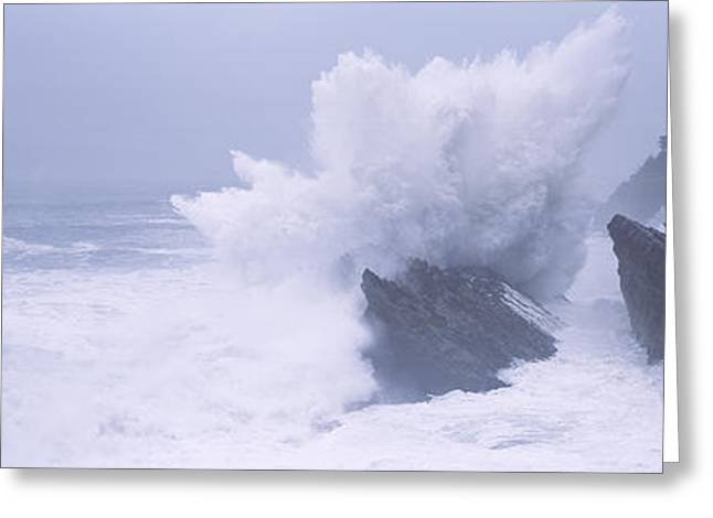 State Parks In Oregon Greeting Cards - Waves Breaking On The Coast, Shore Greeting Card by Panoramic Images