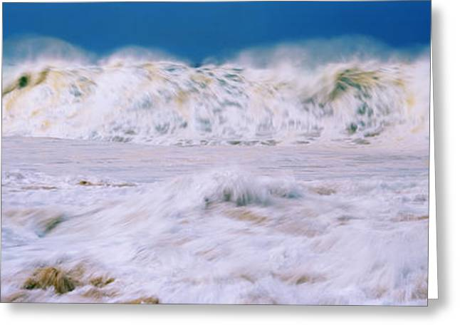 Ocean Photography Greeting Cards - Waves In The Pacific Ocean, Oahu Greeting Card by Panoramic Images