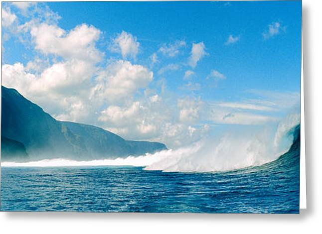 Recently Sold -  - Scenic Greeting Cards - Waves In The Sea, Molokai, Hawaii Greeting Card by Panoramic Images