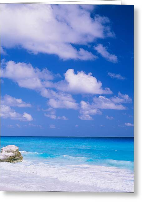 Waves On The Beach, Cancun, Quintana Greeting Card by Panoramic Images
