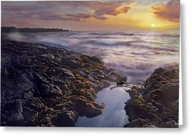 Ocean Shore Greeting Cards - Wawaloli Beach Big Island Hawaii Greeting Card by Tim Fitzharris