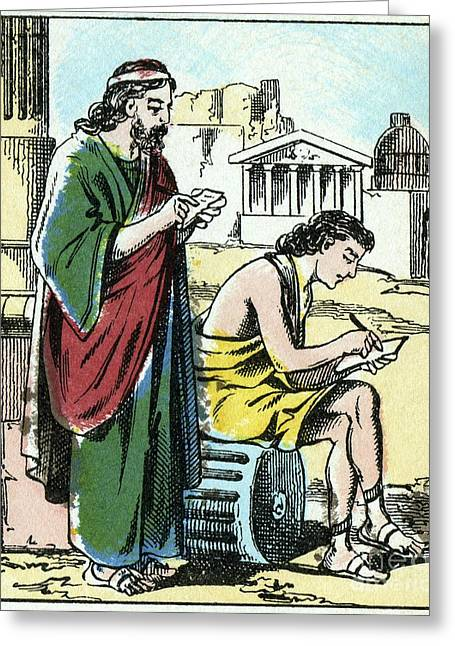 Tablets Greeting Cards - Wax Tablet Writing, Ancient Rome Greeting Card by CCI Archives