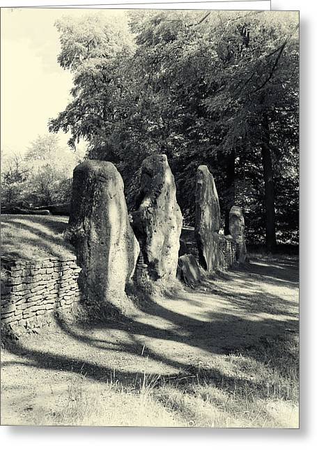 Bronze Age Greeting Cards - Waylands Smithy Barrow Greeting Card by Tim Gainey