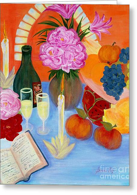 Champagne Glasses Greeting Cards - Wealth and Comfort. Soul Collection Greeting Card by Oksana Semenchenko