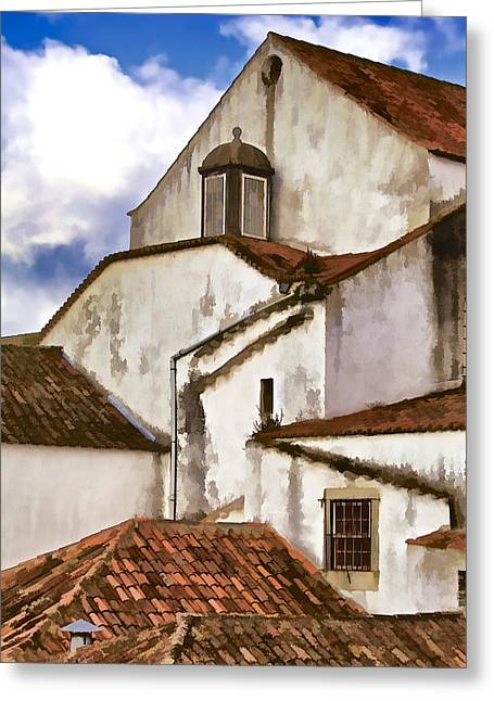 David Letts Greeting Cards - Weathered Buildings of the Medieval Village of Obidos Greeting Card by David Letts