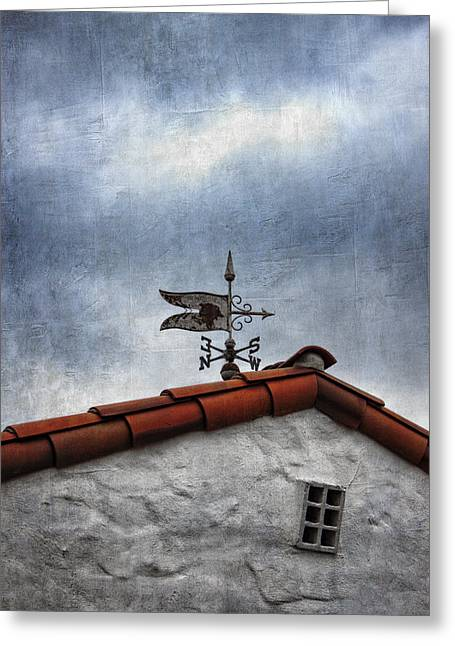Weathervane Greeting Cards - Weathered Weathervane Greeting Card by Carol Leigh