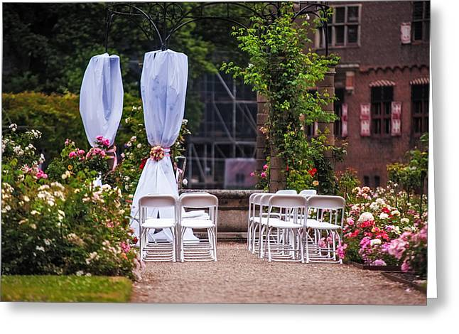 Peaceful Scene Greeting Cards - Wedding Arrangement in De Haar Castle. Utrecht Greeting Card by Jenny Rainbow