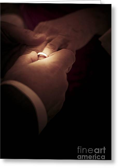 Commit Greeting Cards - Wedding Rings Greeting Card by Ryan Jorgensen