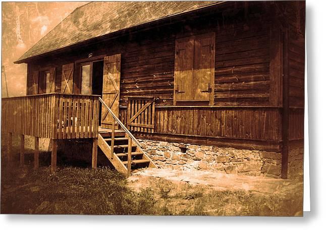 Cabin Window Greeting Cards - Weekend Getaway Greeting Card by Mountain Dreams