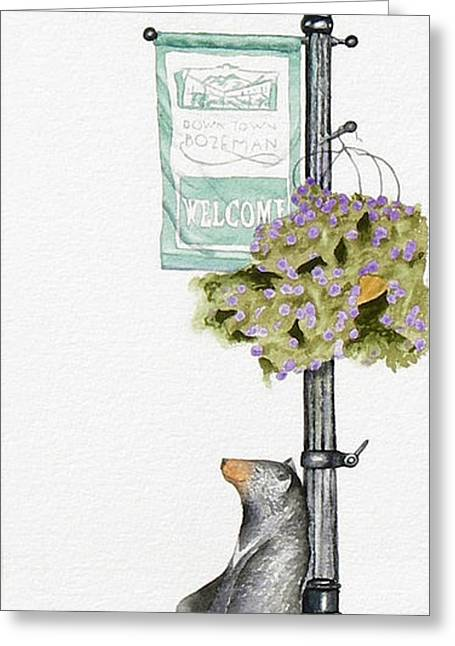Streetlight Greeting Cards - Welcome to Bozeman Greeting Card by Marsha Karle