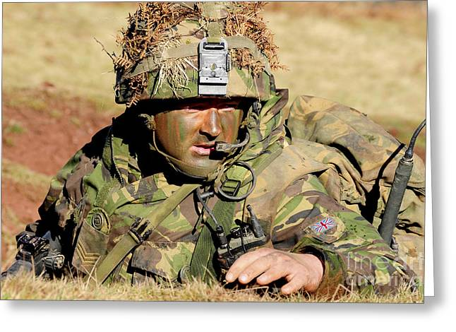 Welsh Guards Platoon Training Greeting Card by Andrew Chittock