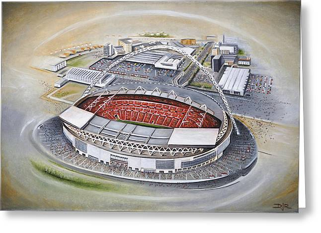 Soccer Greeting Cards Greeting Cards - Wembley Stadium Greeting Card by D J Rogers