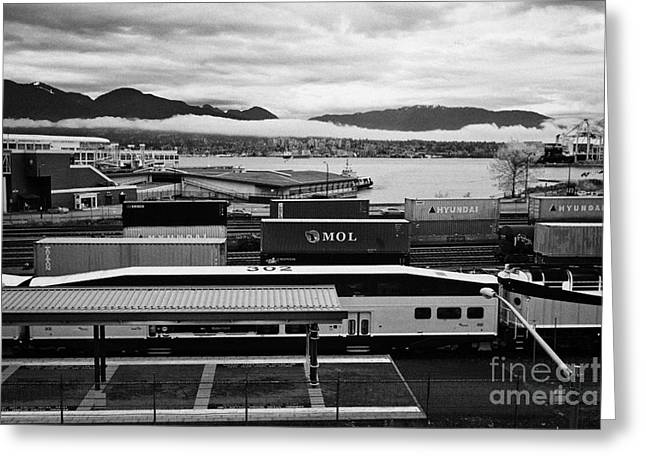 Express Greeting Cards - west coast express platform train tracks and freight terminal area of waterfront station Vancouver B Greeting Card by Joe Fox