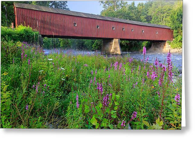 Covered Bridge Greeting Cards - West Cornwall Covered Bridge Greeting Card by Bill  Wakeley