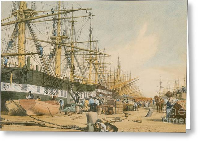 Polluting Greeting Cards - West India Docks from the South East Greeting Card by William Parrot