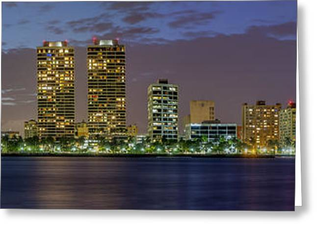Beach At Night Greeting Cards - West Palm Beach at Night Greeting Card by Debra and Dave Vanderlaan