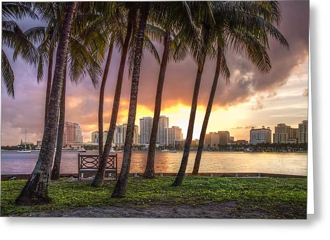 Flagler Greeting Cards - West Palm Beach Skyline Greeting Card by Debra and Dave Vanderlaan
