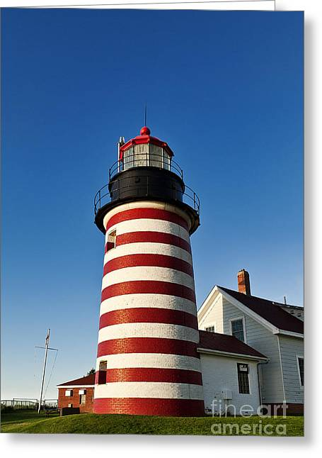 Lubec Greeting Cards - West Quoddy Lighthouse Greeting Card by John Greim
