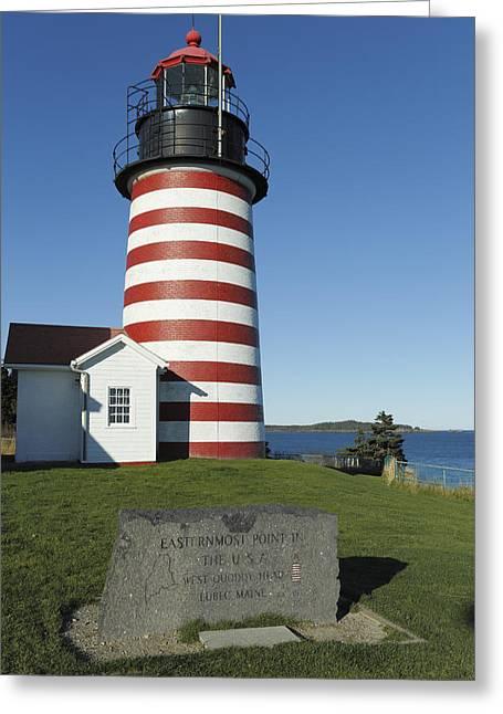 Maine Shore Greeting Cards - West Quoddy Lighthouse Lubec Maine Greeting Card by Scott Leslie