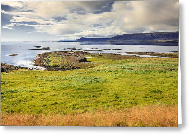 Ocean. Reflection Greeting Cards - Westfjords Greeting Card by Alexey Stiop