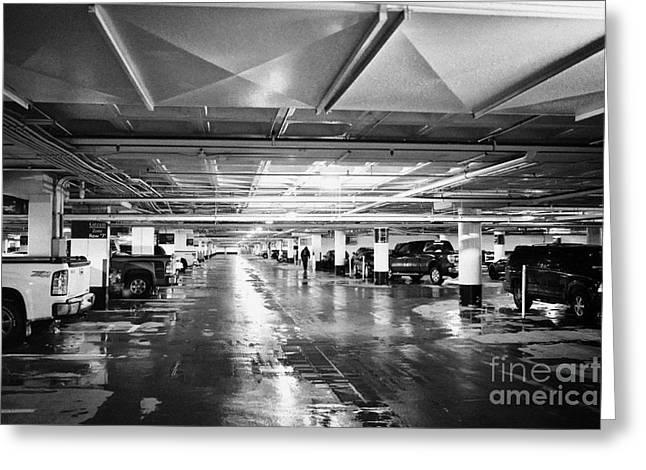 Under Ground Greeting Cards - wet underground heated car park during winter in Saskatoon Saskatchewan Canada Greeting Card by Joe Fox