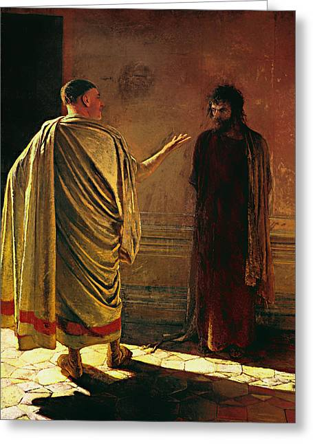 Pontius Greeting Cards - What is Truth - Christ and Pilate Greeting Card by Nikolai Ge