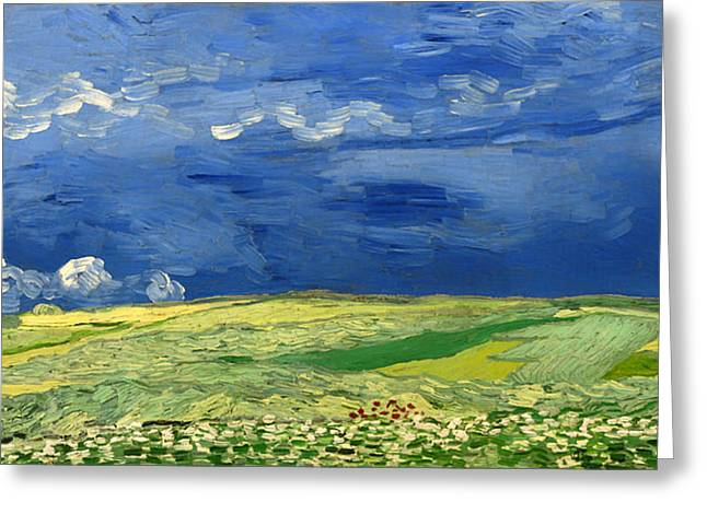 Thunderstorm Paintings Greeting Cards - Wheat Field under Thunderclouds Greeting Card by Vincent van Gogh