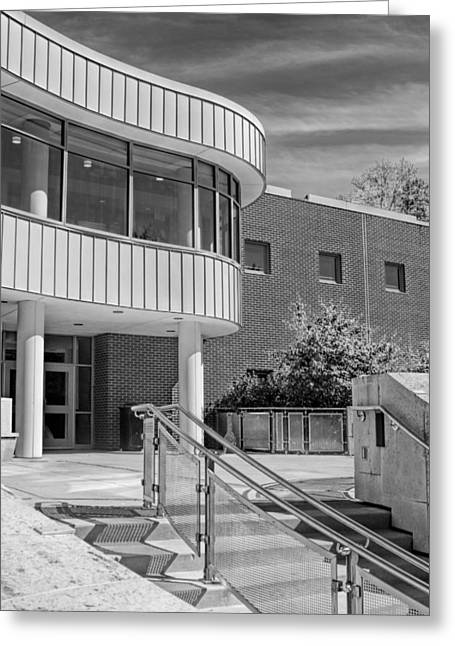 Library Greeting Cards - Wheaton Public Library Black and White Greeting Card by Christopher Arndt