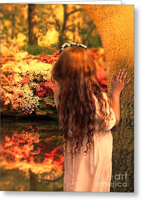 Red Haired Girl Greeting Cards - Where Fairies Live Greeting Card by Jasna Buncic