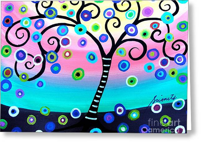 Carter House Greeting Cards - Whimsical Tree Of Life Greeting Card by Pristine Cartera Turkus